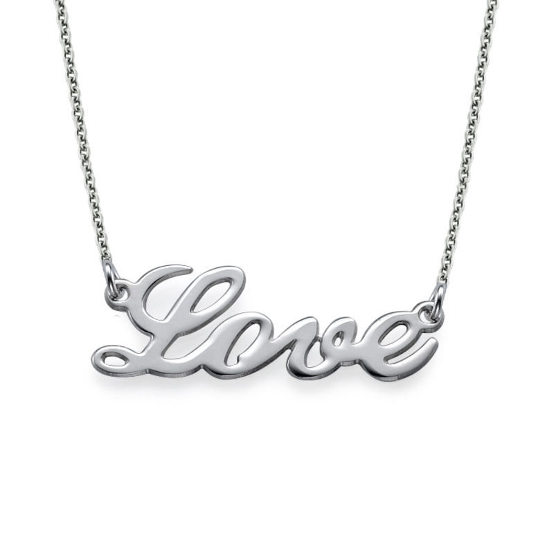 Cursive LOVE Necklace in Silver