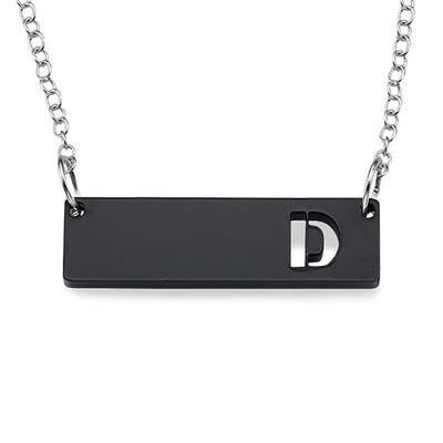 Acrylic Horizontal Bar Necklace with Initial