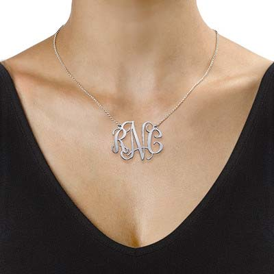 XXL Celebrity Monogram Necklace in Silver - 1