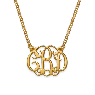 Small Celebrity Monogram Necklace in Gold Plating