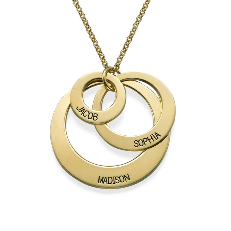 Jewelry for Moms - Three Disc Necklace in 18k Gold Plating - 1