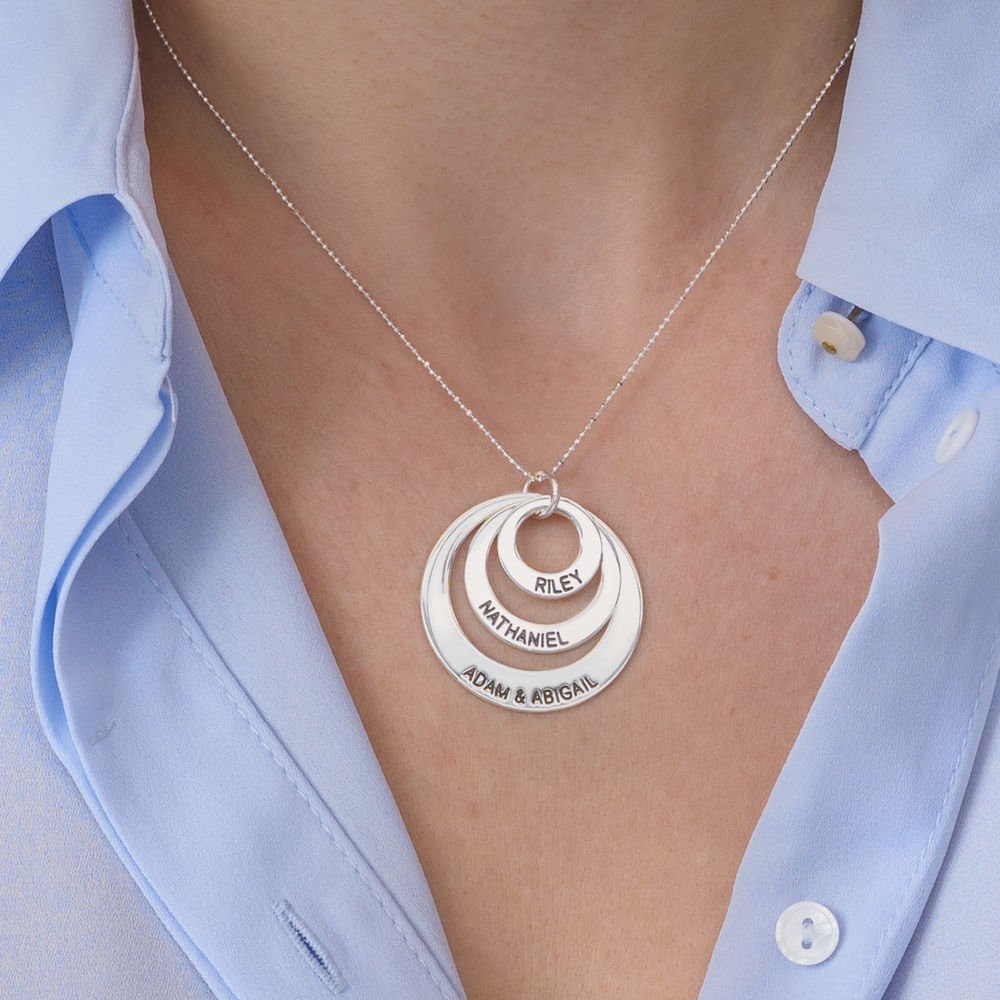 Three Disc Necklace in 10K White Gold - 3