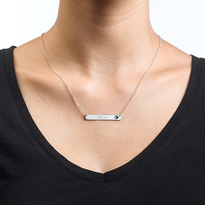 Silver Bar Necklace with Birthstone - 1