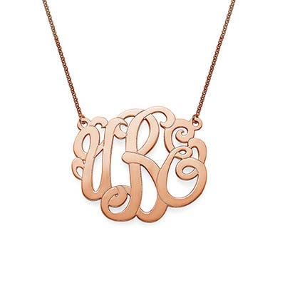 Premium Monogram Necklace in Rose Gold Plating