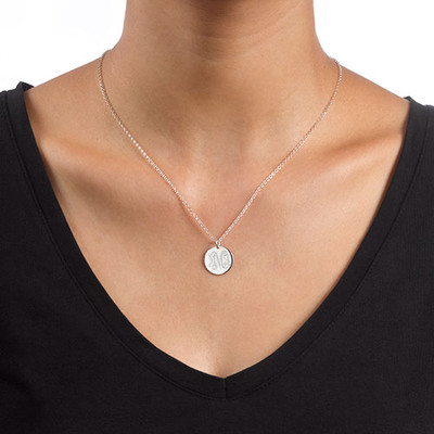 Monogram Disc Necklace in Sterling Silver - 1
