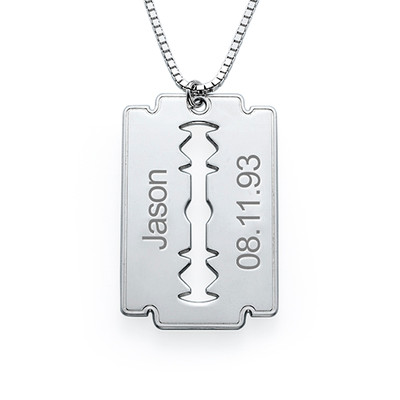 Engraved Razor Blade Necklace in Sterling Silver