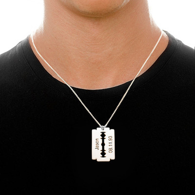 Engraved Razor Blade Necklace in Sterling Silver - 1