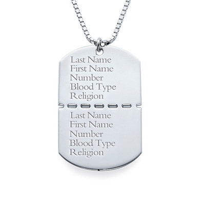 Personalized Sterling Silver Dog Tag Necklace for Men