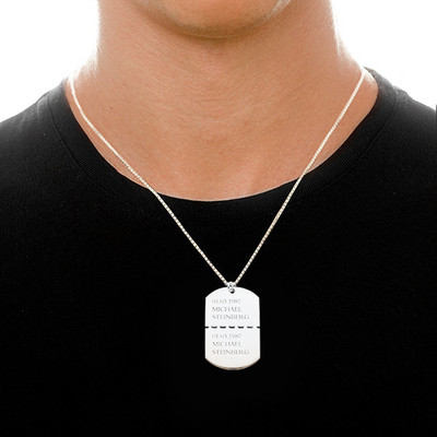 Personalized Sterling Silver Dog Tag Necklace for Men - 2