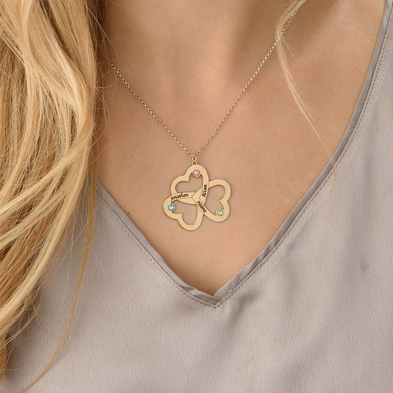 Personalized Triple Heart Necklace in Gold Plating - 3