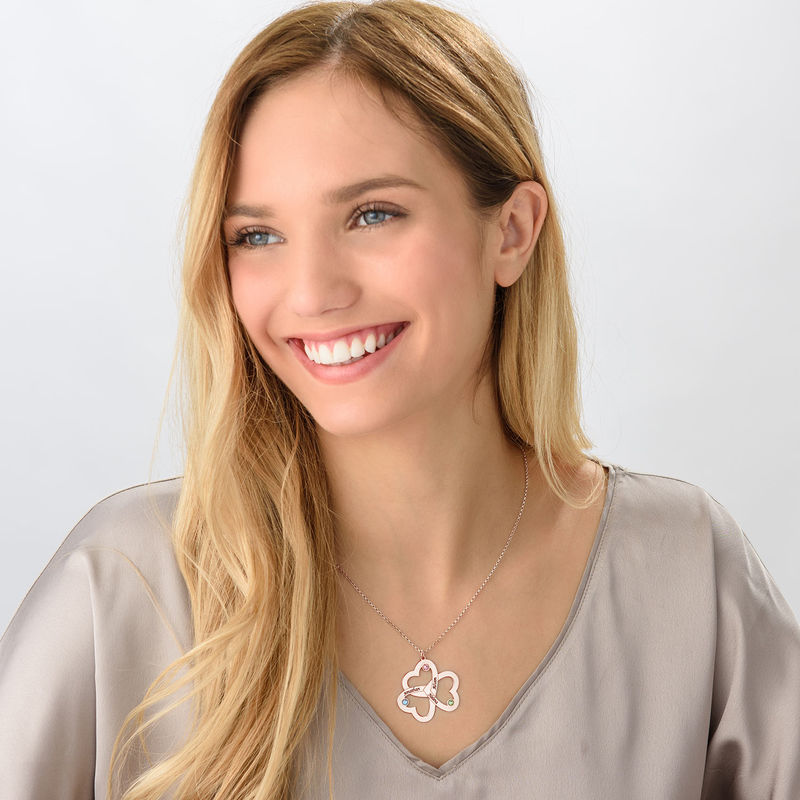 Personalized Triple Heart Necklace with Rose Gold Plating - 2