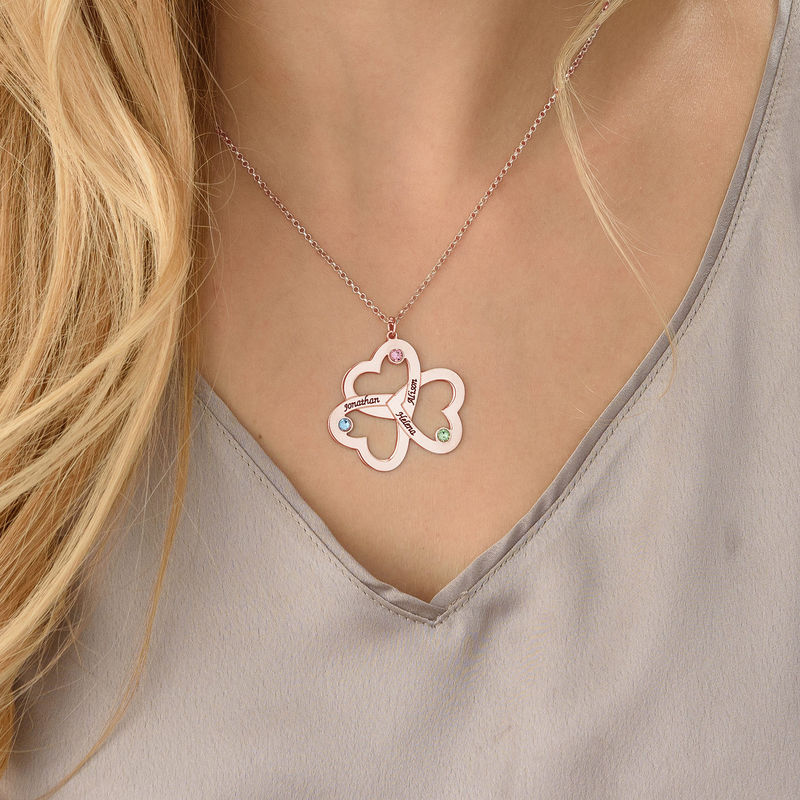 Personalized Triple Heart Necklace with Rose Gold Plating - 3