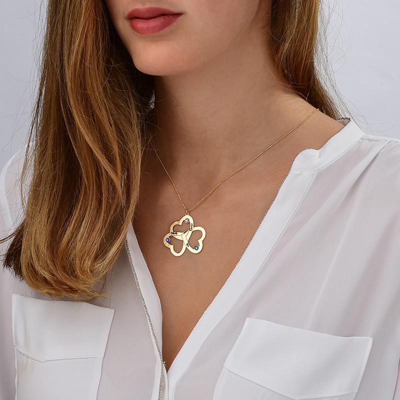 Personalized Triple Heart Necklace in 10K - 1