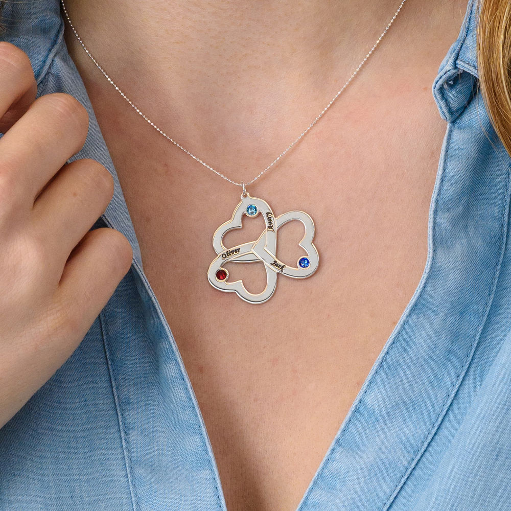 Personalized Triple Heart Necklace in 10K White Gold - 2