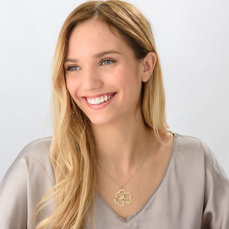 Personalized Triple Heart Necklace in 18k Gold Vermeil - 1
