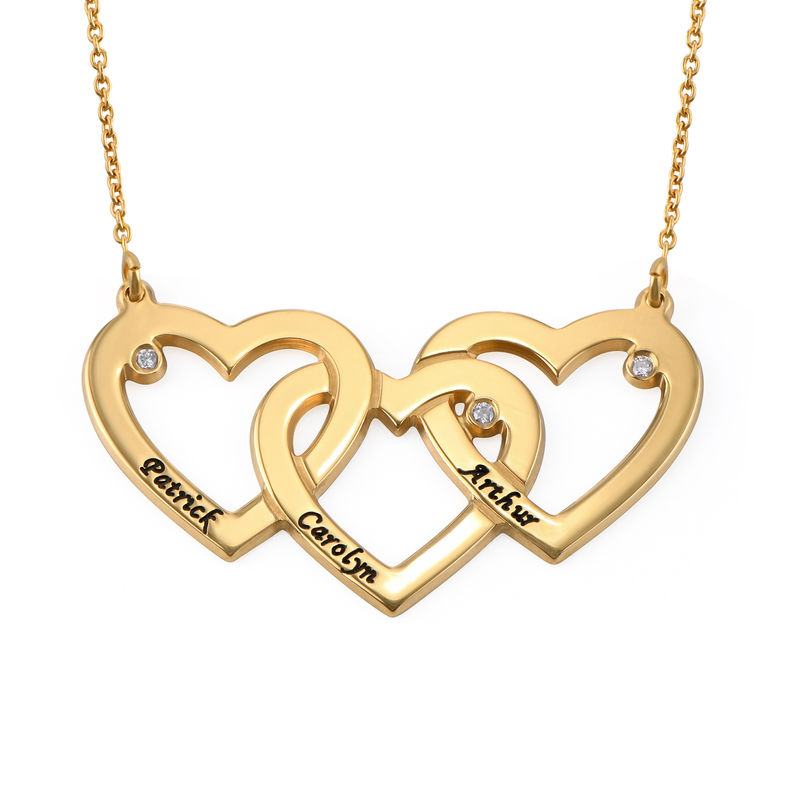 Intertwined Hearts Necklace with Diamonds in 18K Gold Plating
