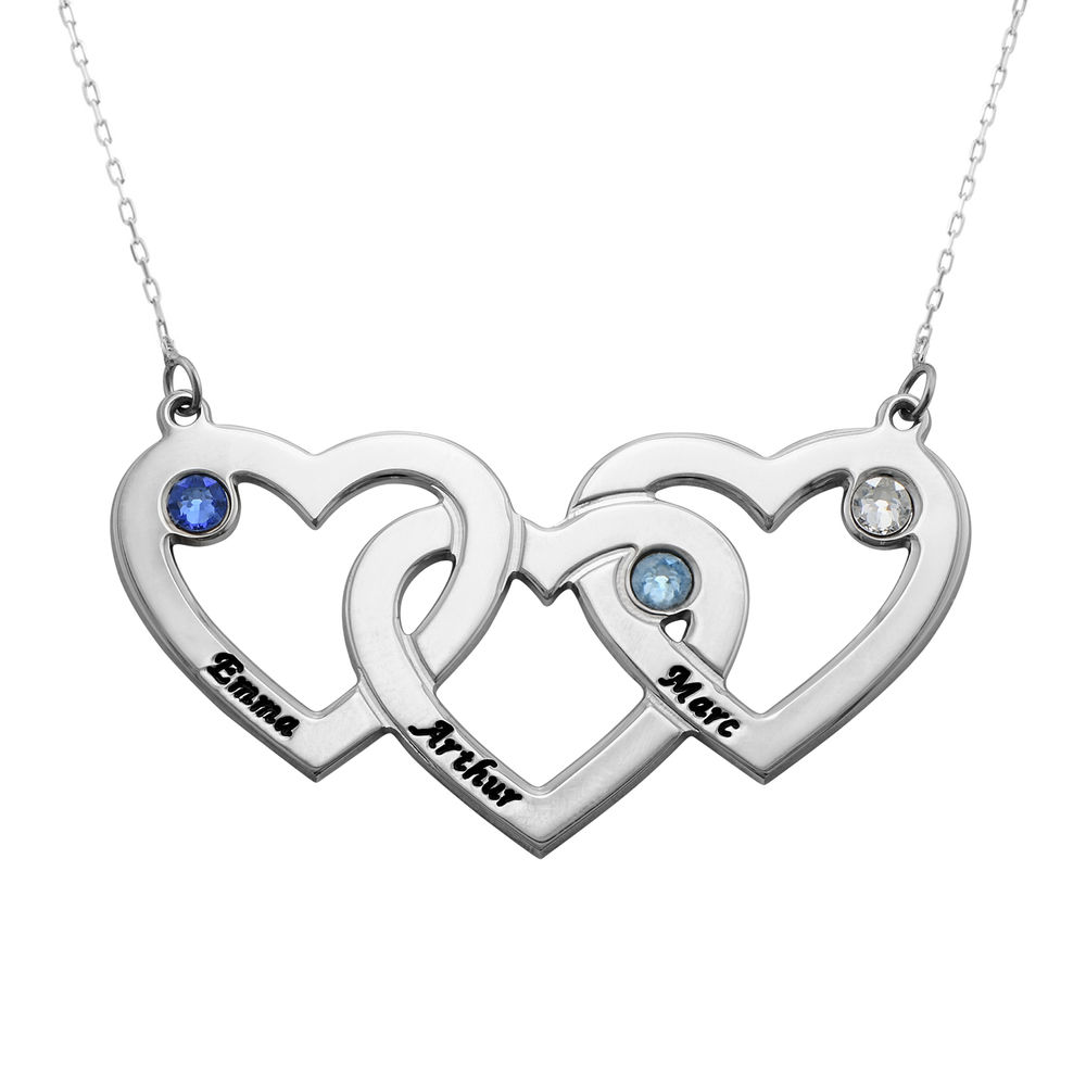 Intertwined Hearts Necklace with Birthstones in 10k White Gold