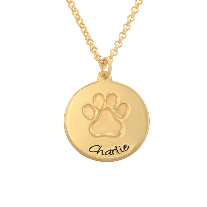 Personalized Paw Print Necklace in Gold Plating