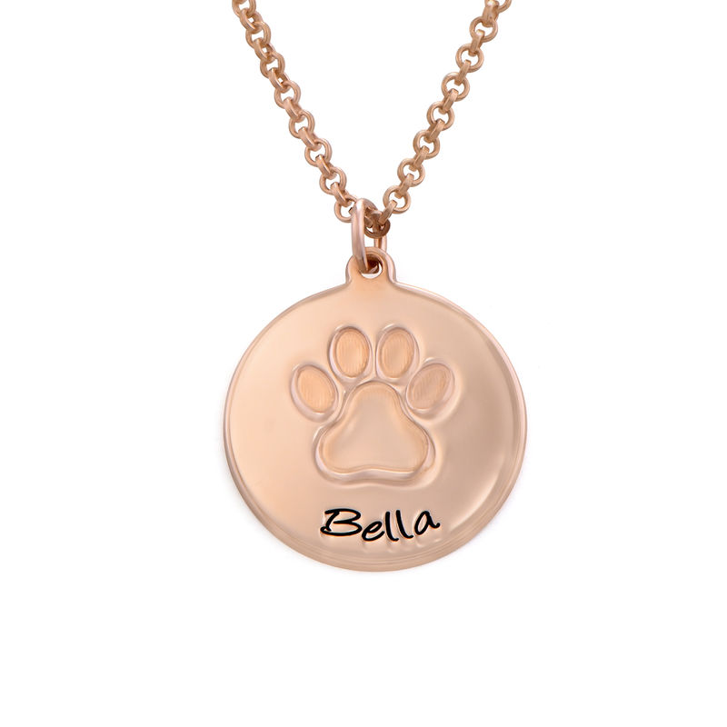 Personalized Paw Print Necklace in Rose Gold Plating