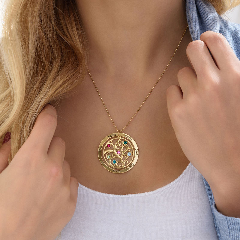 Family Tree Birthstone Necklace - 18k Gold Plated - 3