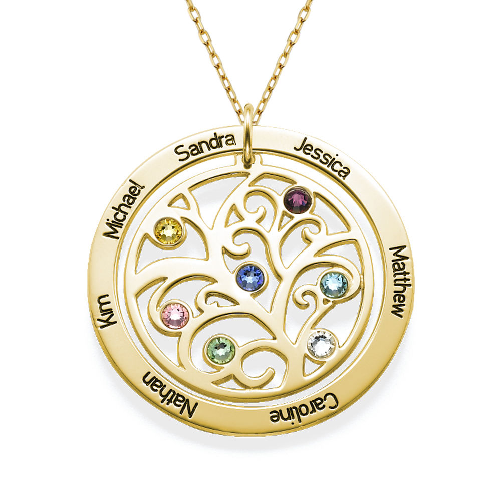 Family Tree Birthstone Necklace - 10K Yellow Gold - 1