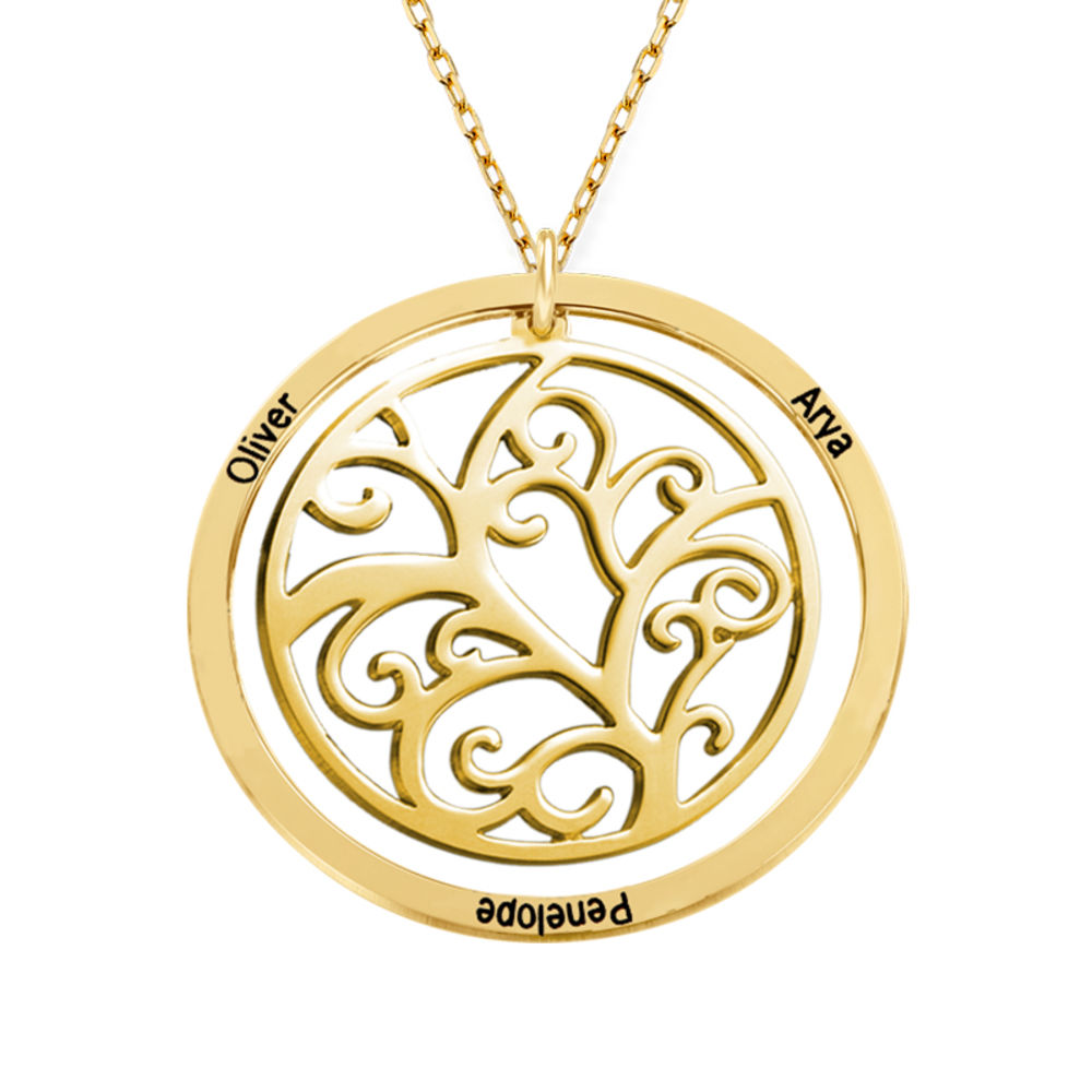 Family Tree Birthstone Necklace - 10K Yellow Gold - 2