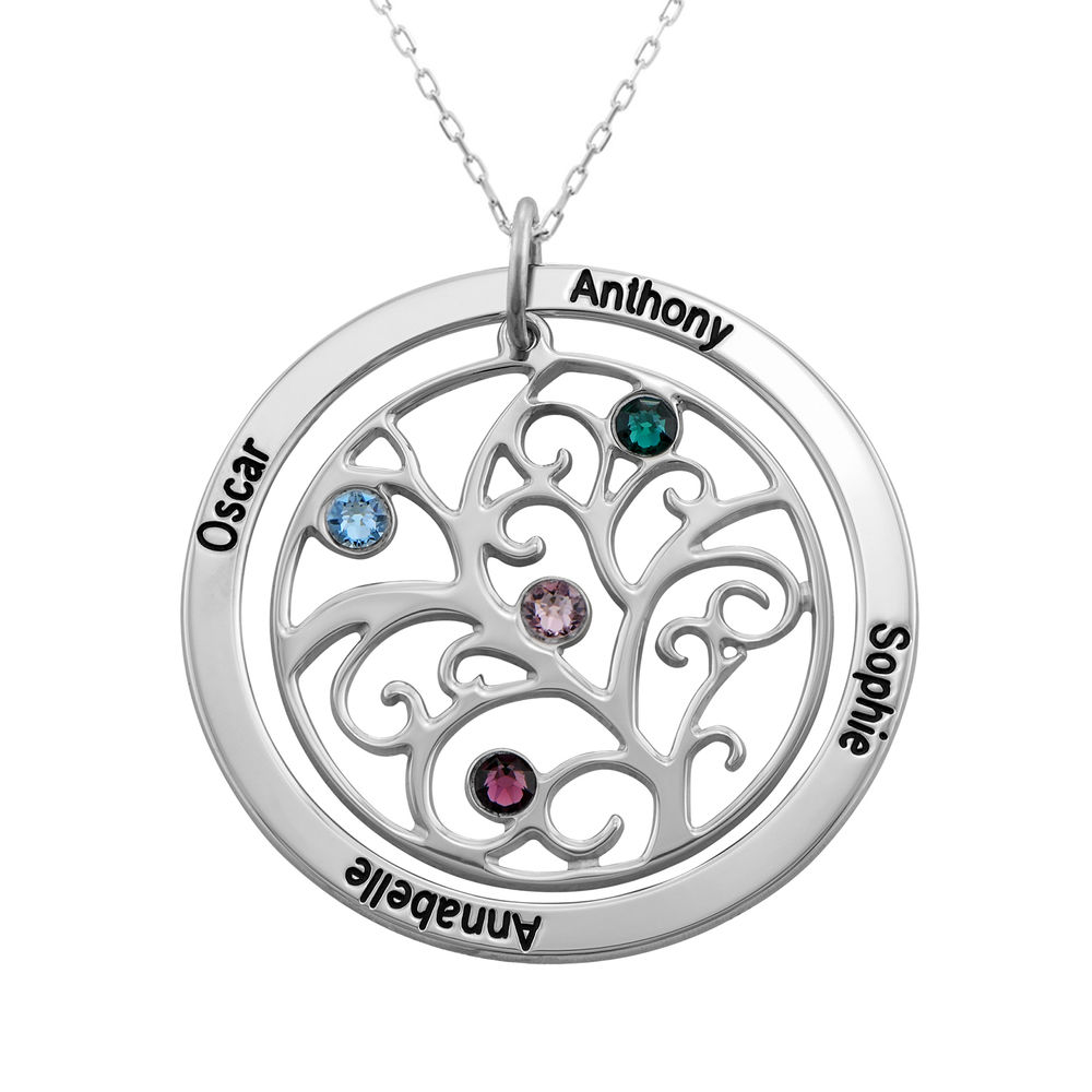 Family Tree Birthstone Necklace in 10k White Gold