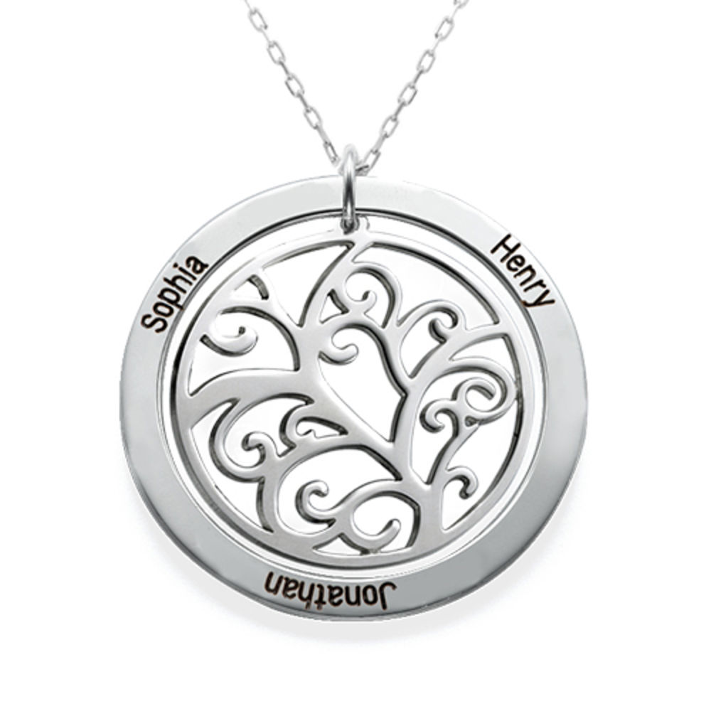 Family Tree Birthstone Necklace in 10k White Gold - 1