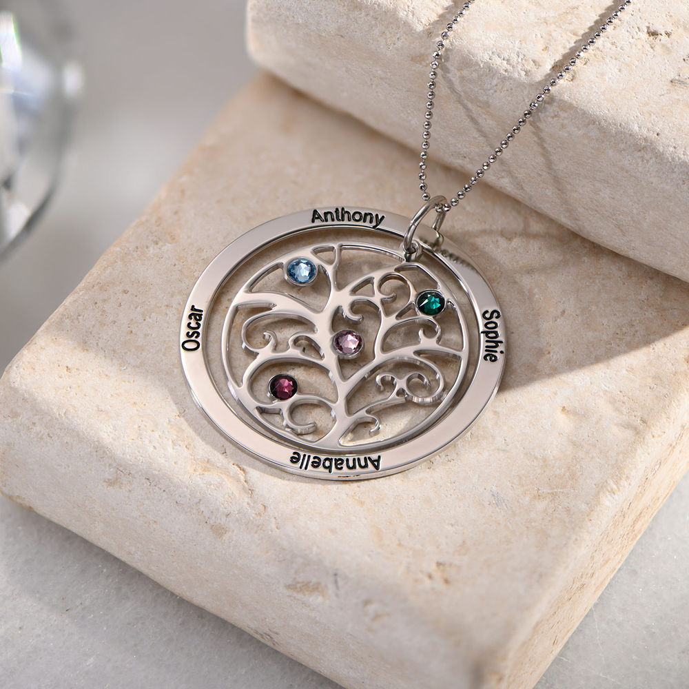 Family Tree Birthstone Necklace in 10k White Gold - 4