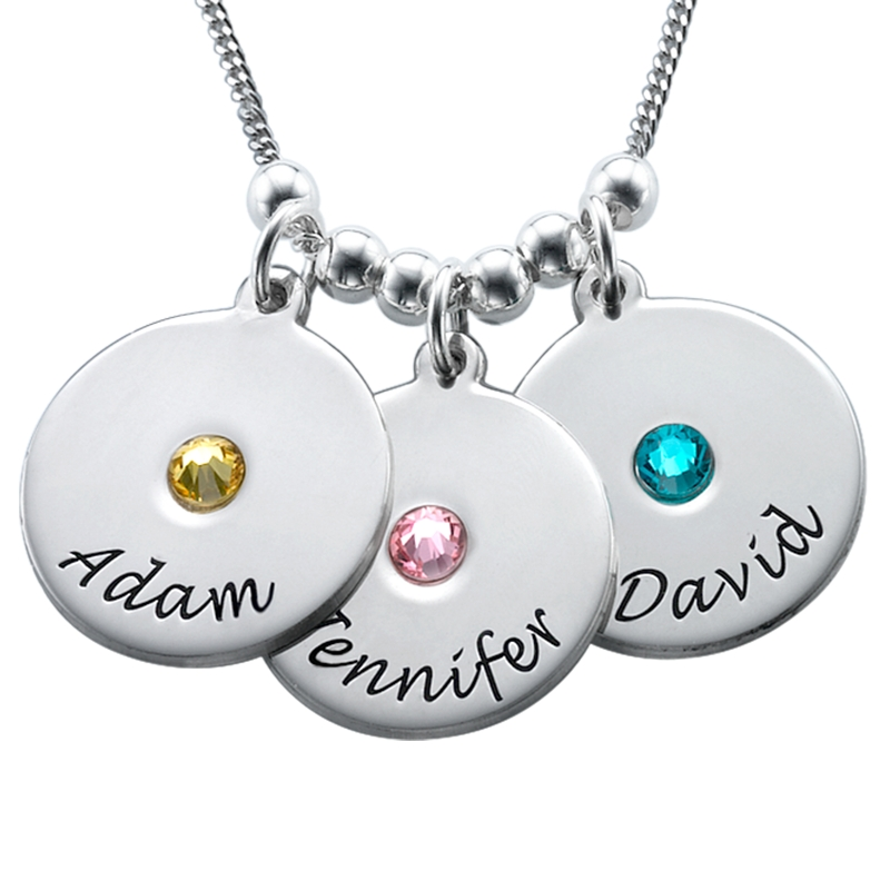 Mother's Disc and Birthstone Necklace in Sterling Silver