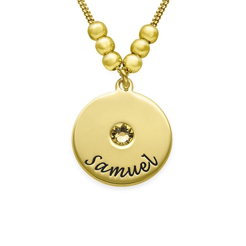 Mother's Disc and Birthstone Necklace in 18k Gold Plated - 1