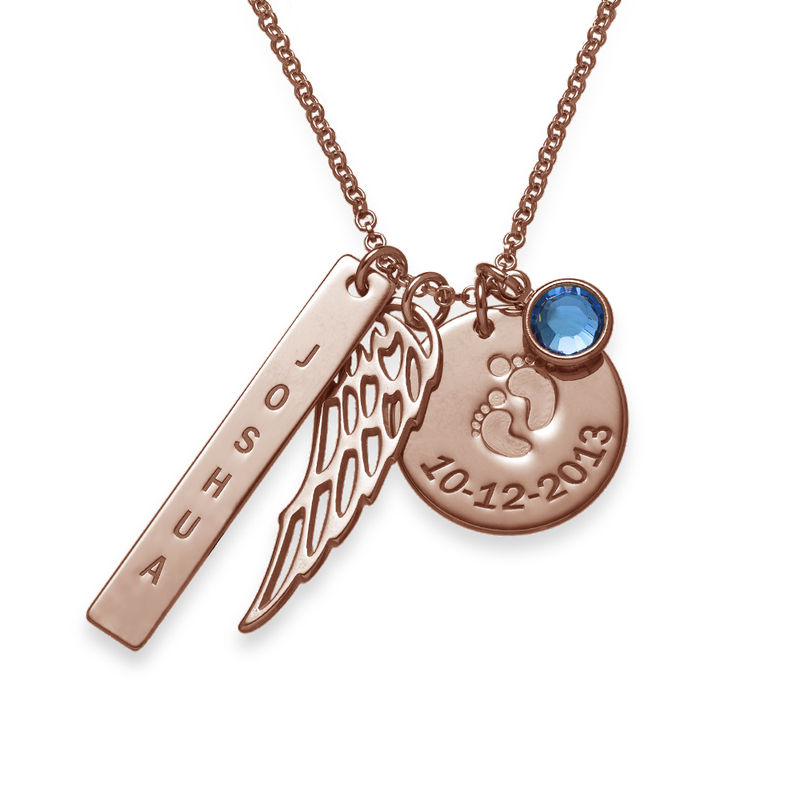 Personalized Mom Charm Necklace in Rose Gold Plating