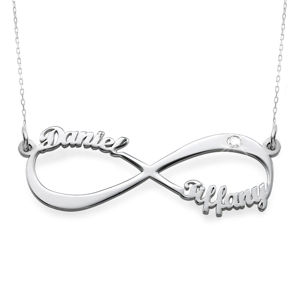 Infinity Name in 10K White Gold Necklace with Diamond