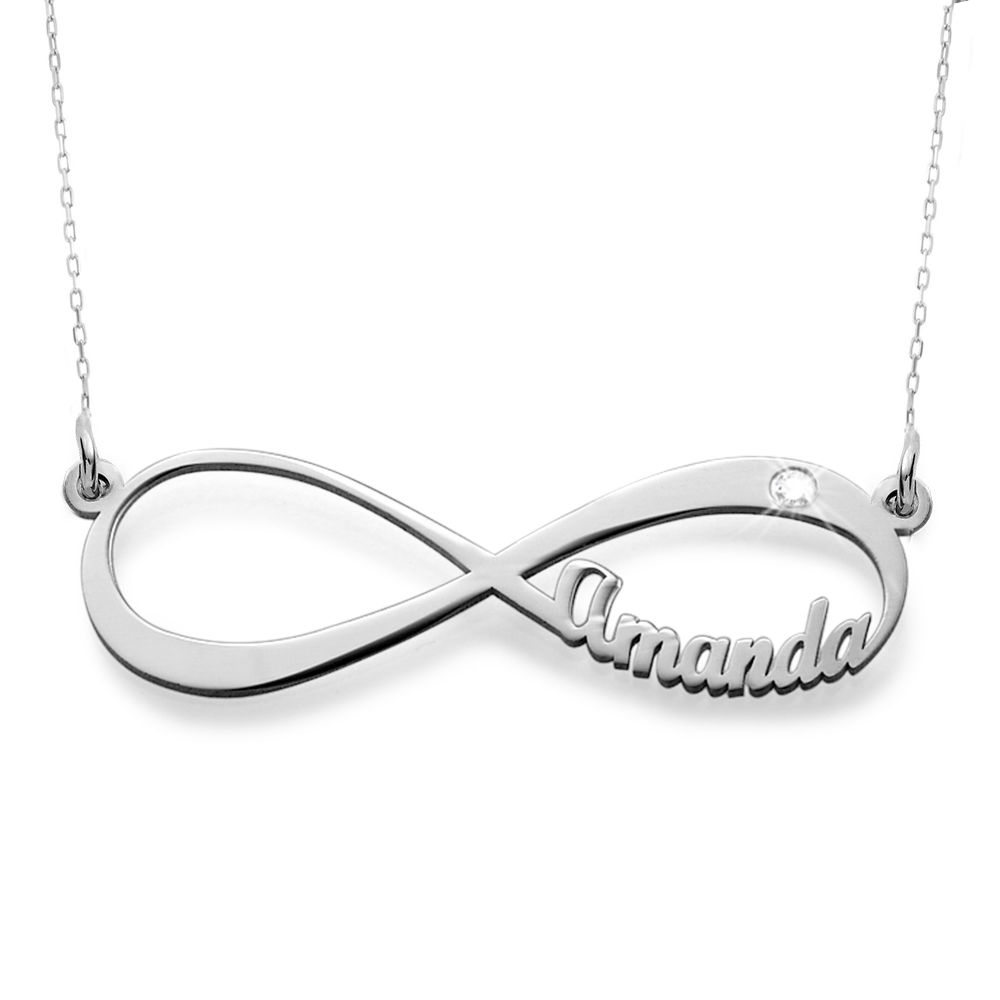 Infinity Name in 10K White Gold Necklace with Diamond - 1
