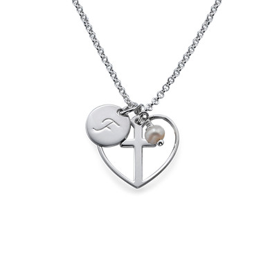 Cross Baptism Necklace with Initial Disc