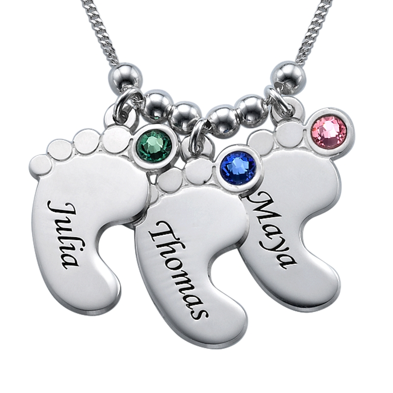 Mom Jewelry - Baby Feet Necklace in Sterling Silver