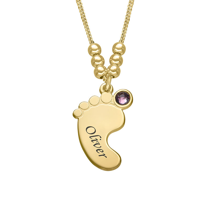 Mom Jewelry - Baby Feet Necklace with Gold Plating - 3