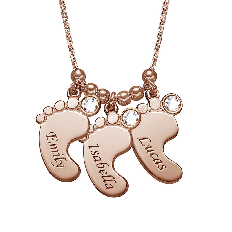 Mom Jewelry - Baby Feet Necklace with Rose Gold Plating - 1