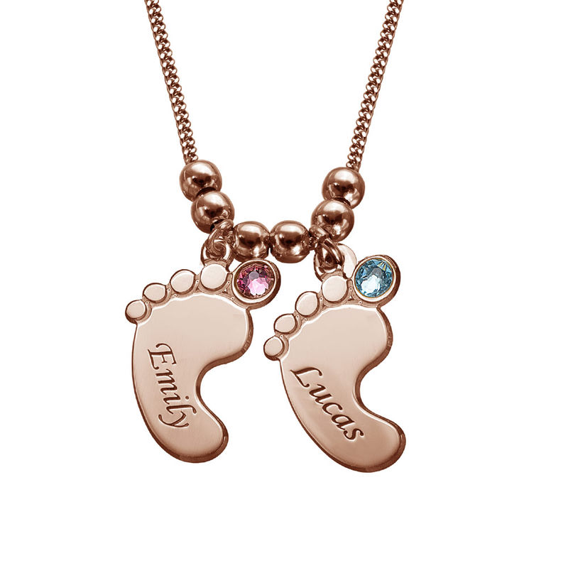 Mom Jewelry - Baby Feet Necklace with Rose Gold Plating - 2