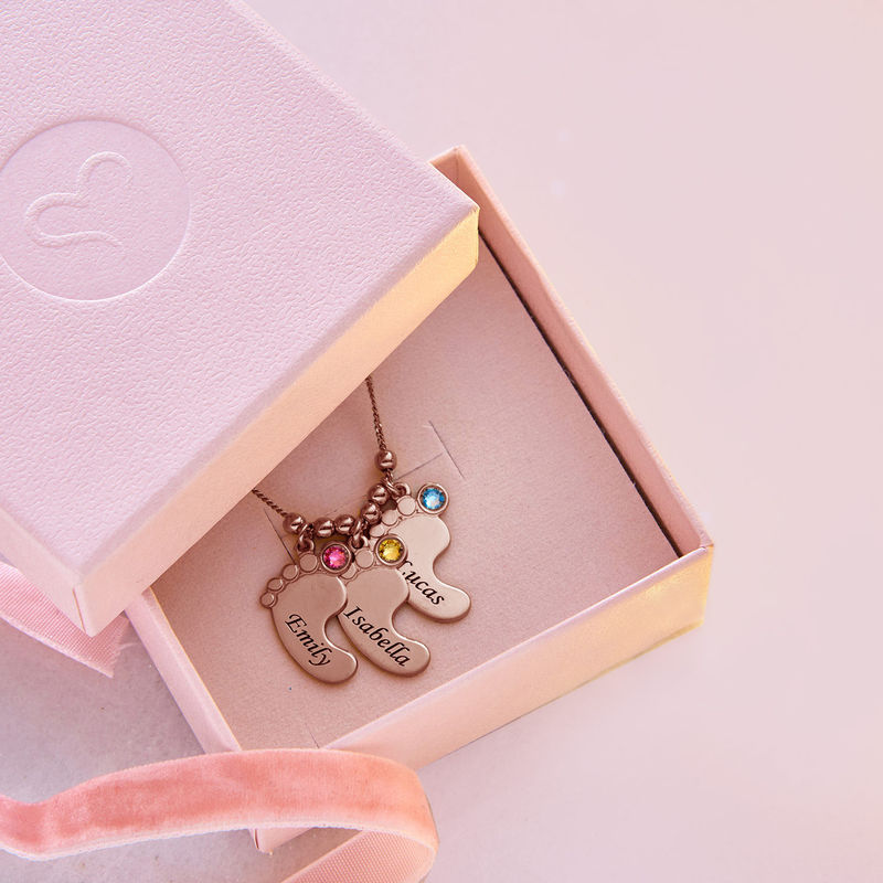 Mom Jewelry - Baby Feet Necklace with Rose Gold Plating - 6
