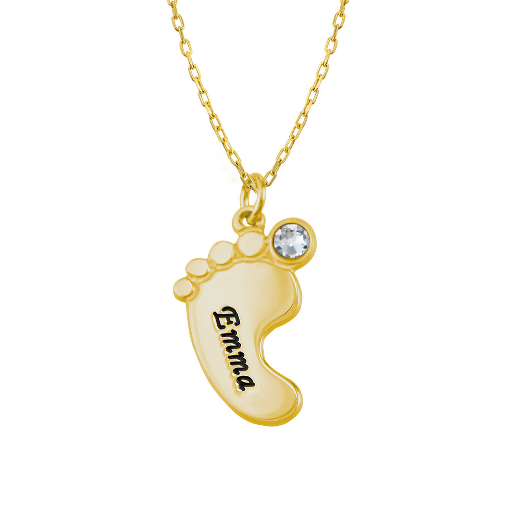 Mom Jewelry - Baby Feet Necklace In 10K Yellow Gold - 3