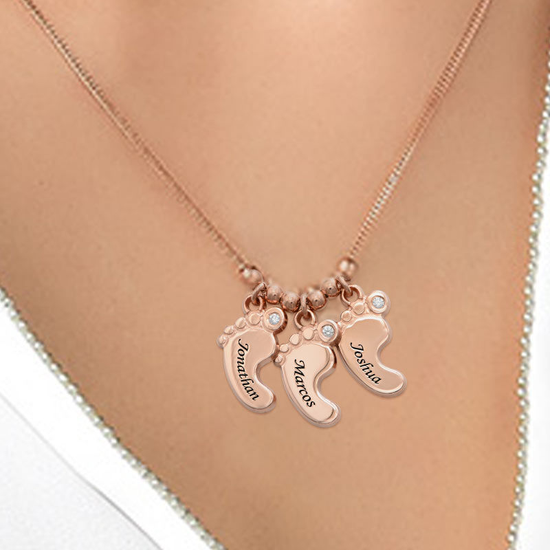 Mom Jewelry - Baby Feet Necklace Rose Gold Plated with Diamonds - 2