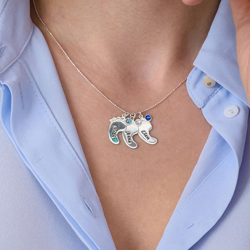 Baby Feet Necklace In 10K White Gold - 4
