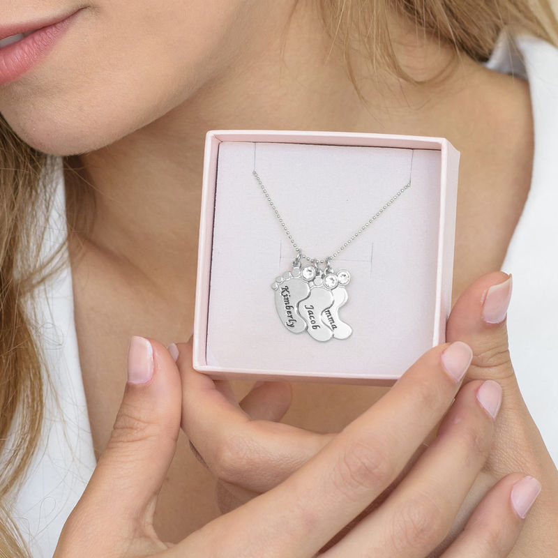 Baby Feet Necklace In 10K White Gold - 6