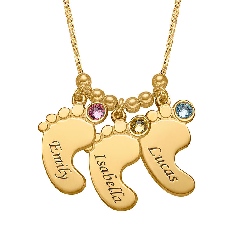 Mom Jewelry - Baby Feet Necklace in Gold Vermeil