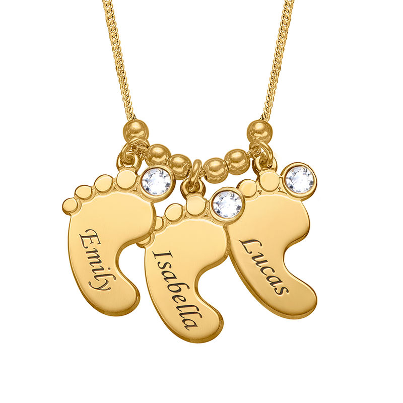 Mom Jewelry - Baby Feet Necklace in Gold Vermeil - 1