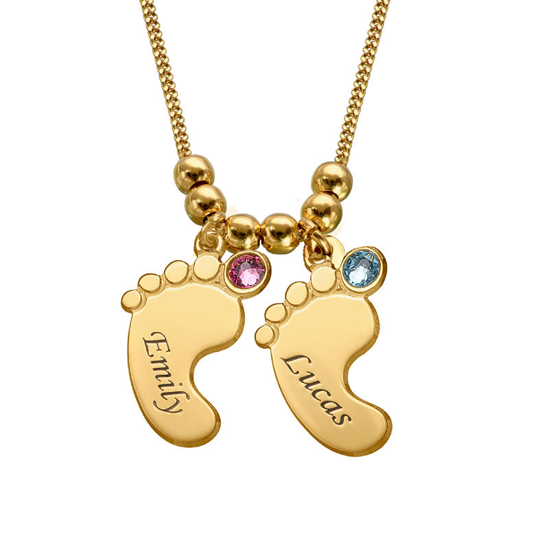 Mom Jewelry - Baby Feet Necklace in Gold Vermeil - 2