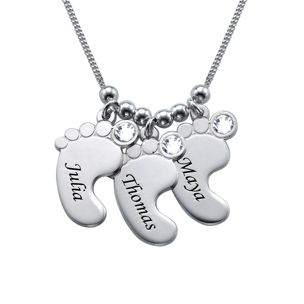 Mom Jewelry - Baby Feet Necklace in 940 Premium Silver