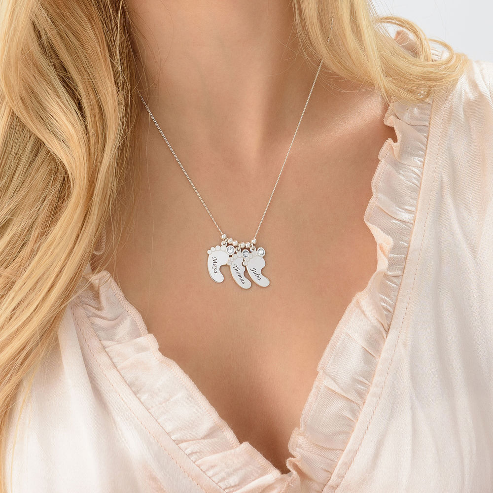 Mom Jewelry - Baby Feet Necklace in 940 Premium Silver - 4