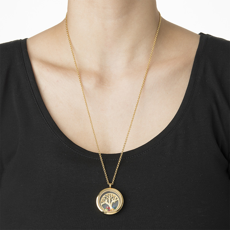 Family Tree Floating Locket with Gold Plating - 2